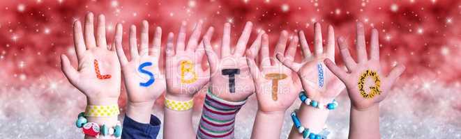 Children Hands Building Word LSBTTIQ, Red Christmas Background