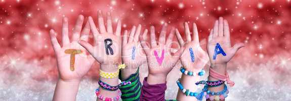 Children Hands Building Word Trivia, Red Christmas Background