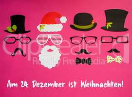 Santa Claus, Set Of Mask, Hat, Pink Background, Weihnachten Means Christmas