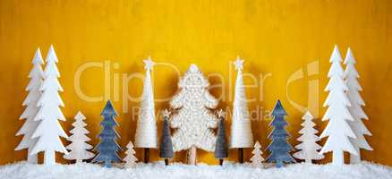 Banner, Christmas Trees, Snow, Yellow Background, Copy Space