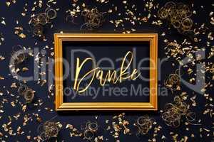 Frame, Golden Glitter Christmas Decoration, Danke Means Thank You