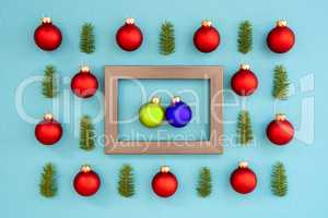 Frame With Two Blue And Green Ball In Love, Textured Turquoise Background