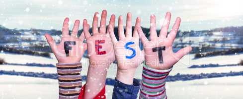 Children Hands Building Word Fest Means Celebration, Snowy Winter Background