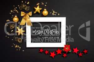 Frame, Red And Golden Christmas Decoration, Merry Christmas And Happy New Year
