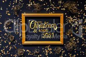 Frame, Golden Glitter Christmas Decoration, Merry Christmas And A Happy 2021