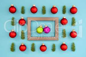 Frame With Two Green And Purple Ball In Love, Textured Turquoise Background