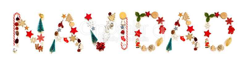 Colorful Christmas Decoration Letter Building Navidad Means Christmas