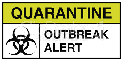 Outbreak alert by the coronavirus sign in the color of bacteriological danger.