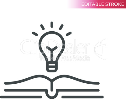 Light bulb and open book vector icon