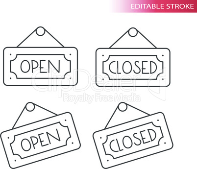 Open and closed sign line vector icon