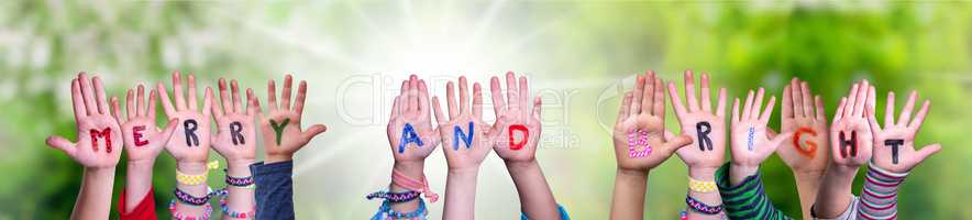 Children Hands Building Word Merry And Bright, Grass Meadow