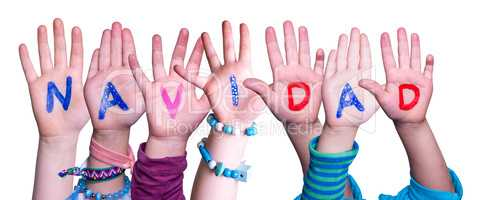 Children Hands Building Word Navidad Means Christmas, Isolated Background