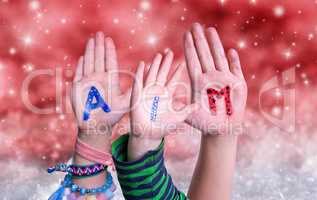 Children Hands Building Word Aim, Red Christmas Background
