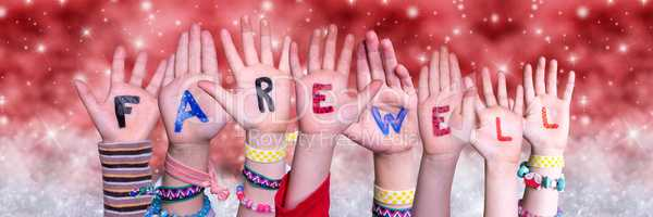 Children Hands Building Word Farewell, Red Christmas Background