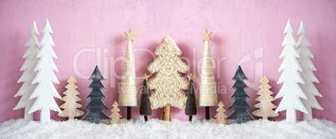 Banner, Christmas Trees, Snow, Pink Grungy Background