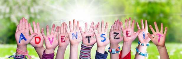 Children Hands Building Word Adventszeit Means Advent Season, Grass Meadow