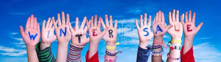 Children Hands Building Word Winter Sale, Blue Sky