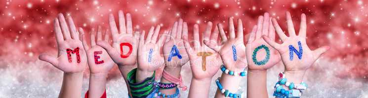 Children Hands Building Word Mediation, Red Christmas Background