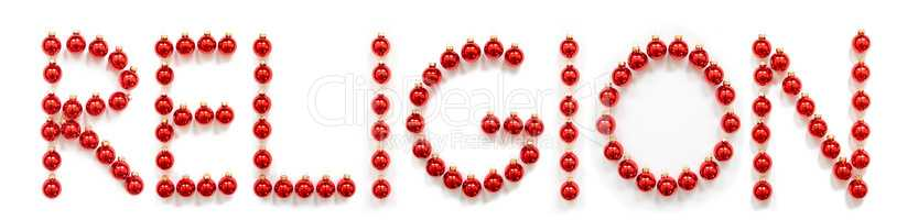 Red Christmas Ball Ornament Building Word Religion