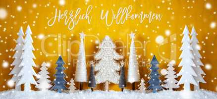 Banner, Christmas Trees, Snowflakes, Yellow Background, Happy Weekend