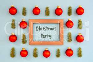 Christmas Texture, Ball, Branch, Frame, Text Christmas Party