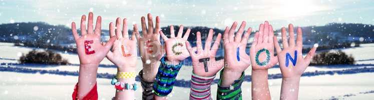 Children Hands Building Word Election, Snowy Winter Background