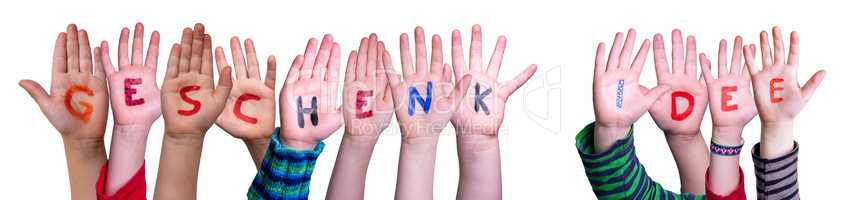 Children Hands Building Word Geschenk Idee Means Gift Idea, Isolated Background