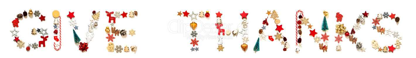 Colorful Christmas Decoration Letter Building Word Give Thanks