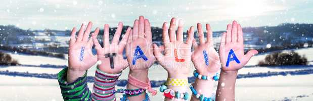 Children Hands Building Word Italia Means Italy, Snowy Winter Background