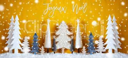 Banner, Trees, Snowflakes, Yellow Background, Joyeux Noel Means Merry Christmas