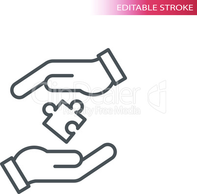 Hands and puzzle piece line vector icon