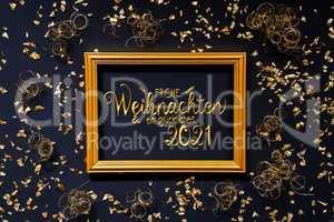 Frame, Golden Glitter Christmas Decoration, Glueckliches 2021 Means Happy 2021