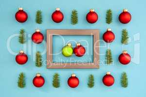 Frame With Two Red And Green Ball In Love, Textured Turquoise Background