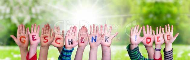Children Hands Building Word Geschenk Idee Means Gift Idea, Grass Meadow
