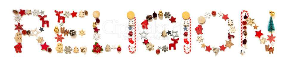 Colorful Christmas Decoration Letter Building Word Religion