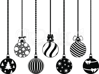 Collection of different hanging Christmas decorations