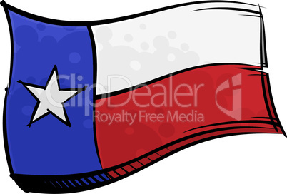 Painted Texas flag waving in wind