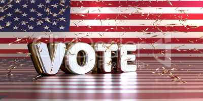 Silver Word Vote on the American flag with shiny confetti, Ameri