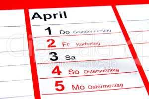 Gründonnerstag, Karfreitag, Ostersonntag, Ostermontag