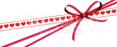 valentine ribbon bow with hearts string