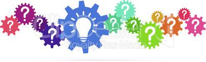 colored team work gears with light bulb idea