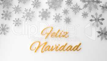 Modern Spanish Merry Christmas background with snowflakes on whi