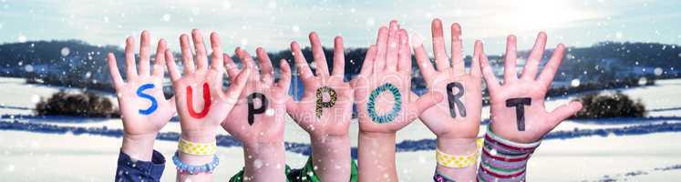 Children Hands Building Word Support, Snowy Winter Background